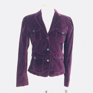 Purple Velvet Military Jacket Kenneth Cole Small